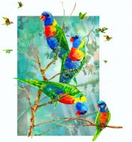 Lorikeets-in-Kuranda-print-on-paper-25-x-29cm