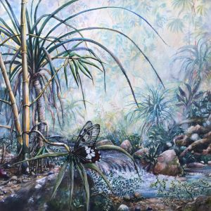 Rainforest impression of a creek with bamboo on its banks and a butterfly called Big Greasy. It depicts the biological diversity of Wet Tropical rainforests in Australia's Cape York Peninsula.